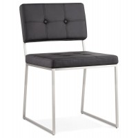 Upholstered black chair with brushed steel structure GAMI