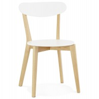 Scandinavian design white chair with solid oak legs KAY