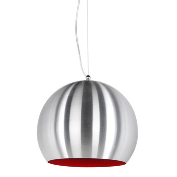 Suspension de lampe boule ALU et ROUGE JELLY