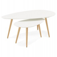 White coffee tables set in wood GOSMI
