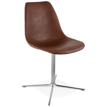 Chaise design MARRON et CHROME avec assise en similicuir BEDFORD