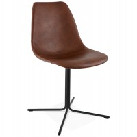 Brown imitation leather chair with dyed metal cross base BEDFORD