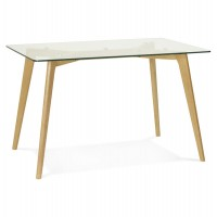 Rectangular Scandinavian style table with tempered glass top and solid oak legs