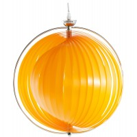 Modular orange lamp suspension with chromed metal structure
