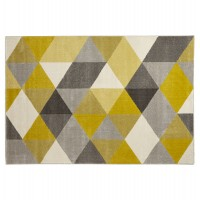 Scandinavian rectangular rug, predominantly yellow, water-repellent and anti-static