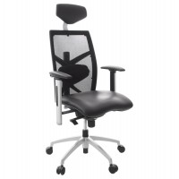 Rotating and ergonomic black office chair with metal leg