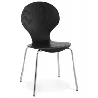 Trendy black chair with natural wood seat and chromed metal legs PERRY