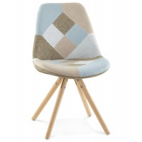 Patchwork design chair with fabric cover and beech foot BOHEMY