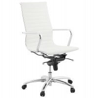 Adjustable white leatherette office chair with strong chromed metal foot