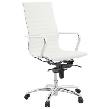 Designed white office armchair with imitation leather RELIK