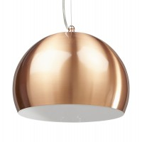 Bowl lamp suspension in coppery aluminum with white interior