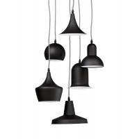 Black metal suspension for 6 lamps