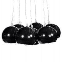 Black hanging lamp in metal adjustable in height