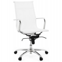 Designed white office chair, with textile seat and chromed metal foot