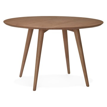 Pretty round wooden table, walnut color JANET
