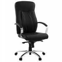 Black office chair, swivel and reclining, with leatherette Seat and Back