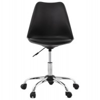 Adjustable and swivel black chair with metal structure and seat in black imitation leather