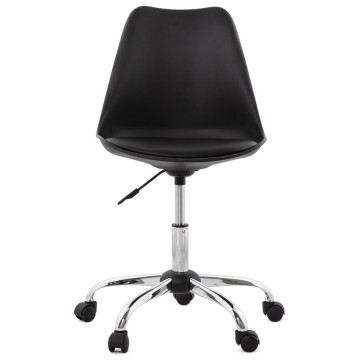 Swivel Black chair with leatherette seat EDEA