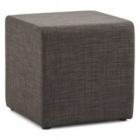 Dark gray striped pouf covered with a soft and durable fabric