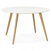 White round table, Scandinavian style, with oak legs
