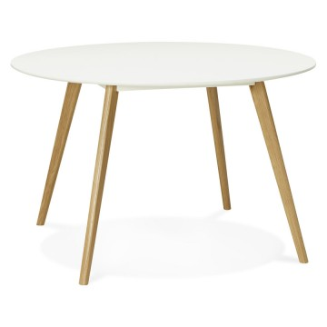 Belle table blanche scandinave de forme ronde CAMDEN