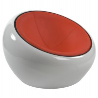 White armchair in red imitation leather and ABS shell