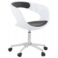 Strong and design white/black swivel office chair with black leatherette