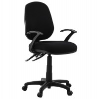 Upholstered and adjustable black office chair with fabric cover