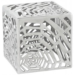 Side table or low stool in polished aluminum TRIBAL