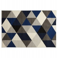 Scandinavian rectangular rug, predominantly blue, water-repellent and anti-static