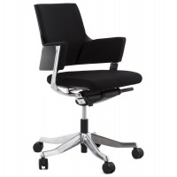 Ergonomic black office chair with solid chrome-plated metal base