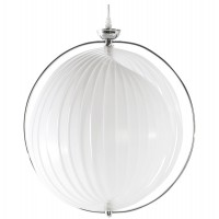 Modular white lamp suspension with chromed metal structure