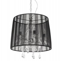 Black lamp suspension with chandelier style with fabric shade CONRAD