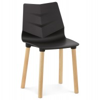 Scandinavian design black chair with molded seat and wooden legs TORRO