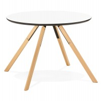 Small white round table with Scandinavian style and wooden legs