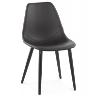 Design black chair in upholstered imitation leather with solid wood legs WILSON