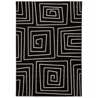 Water repellent and anti static rectangular mat in black with spiral patterns