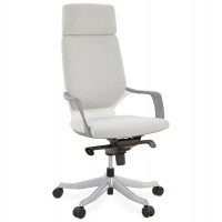 Grey office armchair in vintage style, ergonomic and comfortable