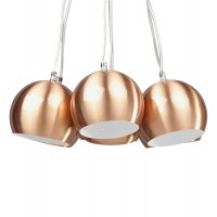 Height adjustable lamp suspension, with 7 coppery balls