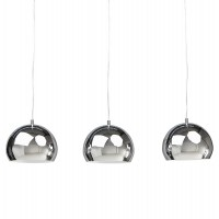 Pendant lamp with chromed metal balls, adjustable in height