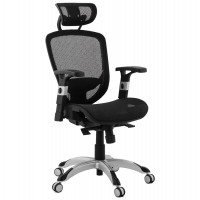 Ergonomic office chair with black textile covering, offering numerous settings for maximum comfort