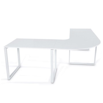 WHITE design corner desk with wooden top KUVO