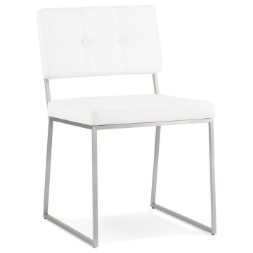 Padded WHITE chair with retro modern look GAMI