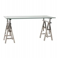 Straight desk with resistant glass top and solid stainless steel structure