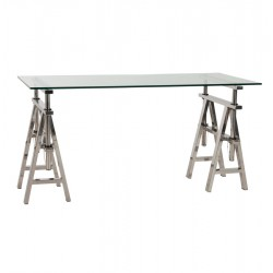 Straight desk with glass top VINTY
