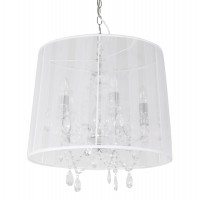 White lamp suspension with chandelier style with fabric shade CONRAD