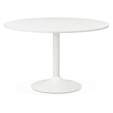 WHITE round table with large plate REKON