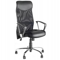 Black Swivel and Adjustable Office Chair in Leatherette