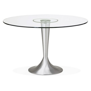 Beautiful round table with glass top EYES