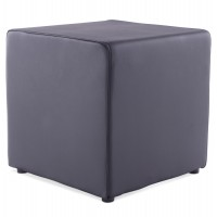 Trendy black footstool in imitation leather RUBIK